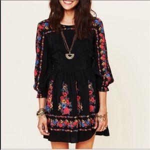 Free People Black Long Sleeve Floral Mini Dress